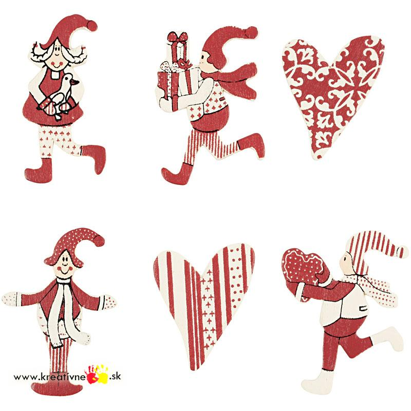 Drevená dekorácia Vianoce 6 ks  a47e1276a35