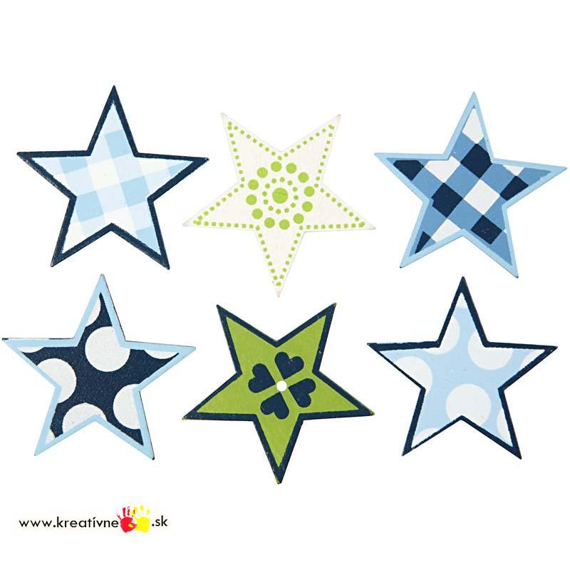 Drevená dekorácia Hviezdičky 6 ks  e13390b000d